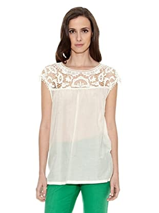 Cortefiel Camiseta Encaje Bitono (Blanco)