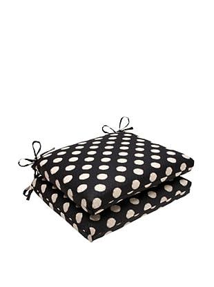 Waverly Sun-n-Shade Set of 2 Solar Spot Ebony Seat Cushions (Black/Cream)