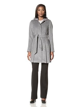 Badgley Mischka Women's Amelia Belted Coat with Rabbit Fur Collar (Grey)
