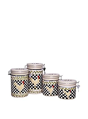 Set of 4 Rooster Canisters, Black/White