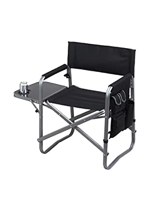 Folding Directors Chair With Table & Organizer, Black