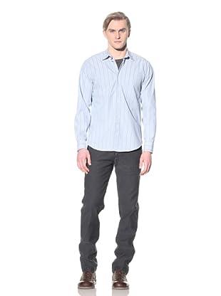 Steven Alan Men's Reverse Seam Button-Front Shirt (Blue/Green Stripe)
