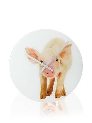 Karlsson Happy Farmers Glass Wall Clock (Pig)