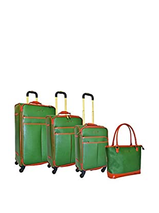 Adrienne Vittadini Etched 4-Piece Luggage Collection, Green