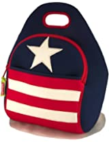 Dabbawalla Bags Stars and Stripes American Flag Kids' & Adults' Insulated Washable & Eco-Friendly Lunch Bag Tote Red/White/Blue