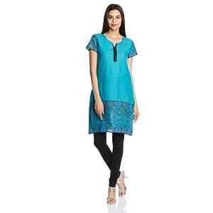 Karigari Women's Cotton A-Line Kurta (253091676_Blue_x-small)