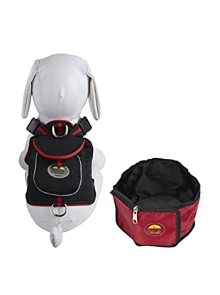 Pet Life Harness and Wallet Travel Bowl Set (Black/Red)