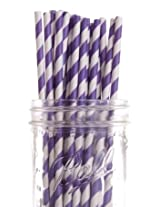 Dress My Cupcake Purple Striped Paper Straws, 25-Pack