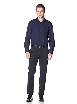 Incotex Ivory Men's Cotton Flat-Front Trousers (Navy)