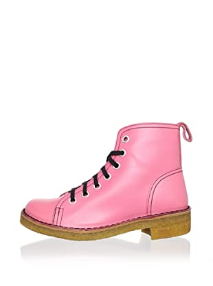 Swedish Hasbeens Women's Lace-Up Duck Boot (neon pink)
