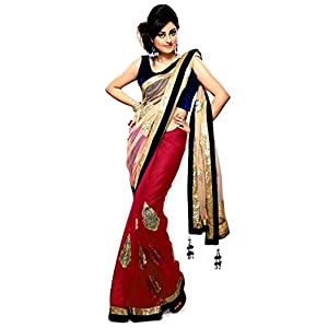 Priyanka chopra bollywood half half net chiffon red saree