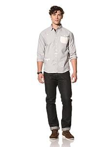 Under 2 Flags Men's Conrast Stripe Woven Shirt (Navy/White)
