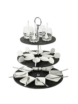 Delys-by-Crealys Set de mini aperitivos 32 piezas y soporte de 3 niveles de pizarra