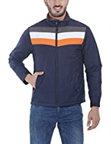 Zobello Men's Polyester Padded Racing Stripes Cire Jacket(51071C_Navy/Grey/White/Orange_Large)