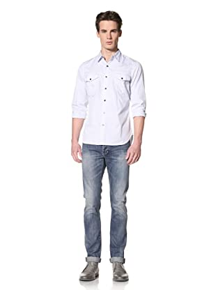 Onassis Men's Billings Slim Oxford Western Shirt (Blue)