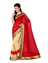 De Marca Beige and Red Art Silk G-332 Saree