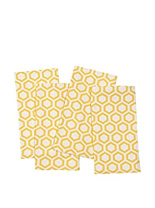 KAF Home Set of 4 Hexagon Napkins, Mimosa Yellow
