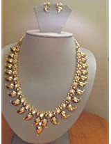 Classic South Indian Traditional Bridal Wear - Temple Jewellery Mango Necklace With Ear rings Set by Mirraw.com