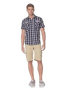 Fresh Men's Short Sleeve Plaid Snap Front Shirt (Navy)