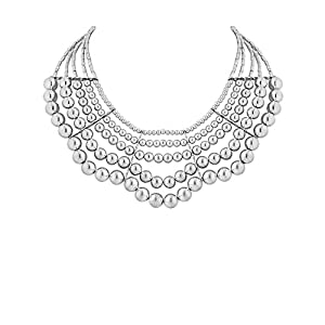 Silver Beaded Necklace With Layers