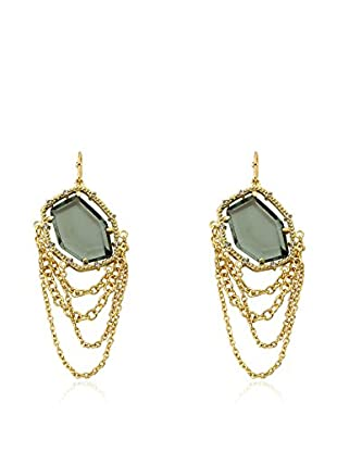 Riccova Sliced Black Glass & Cascading Chain Earrings with CZs