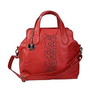 Butterflies Laser Cut Designer Hand Bag (Red)_BNS 0320