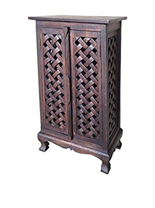 Asian Art Imports Tall Carved Lace Cabinet