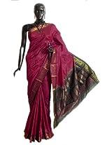 DollsofIndia Maroon Rajshahi Silk Saree with Black Border and Pallu with All-Over Boota - Silk - Red