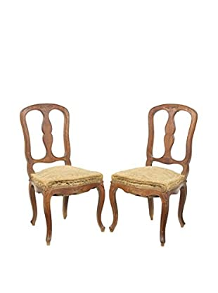 Pair of French Farmhouse Chairs, Brown/Tan