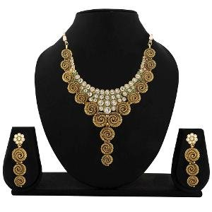 Antique Goldtone Necklace Set By Zaveri Pearls