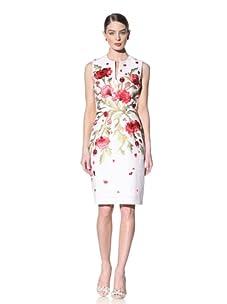 Naeem Khan Women's Embroidered Sheath Dress (White/Red)