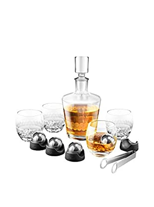 Final Touch On The Rock Glass Stainless Steel Edition 14-Piece Decanter Set