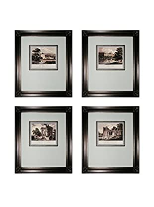 Set of 4 Mini Estates Framed Artworks, Black/White/Silver