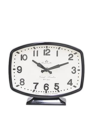 Three Hands Great London Metal Table Clock, Black