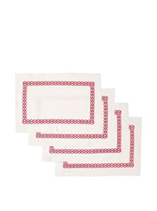 Trina Turk Set of 4 Ogee Embroidered Placemats (Pink)