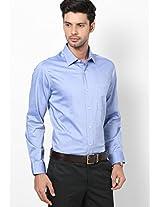 Blue Solid Regular Fit Formal Shirt