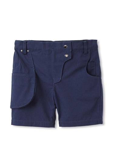 kicokids Girl's Work Wear Walking Shorts with Tool Belt Pocket (Indigo)