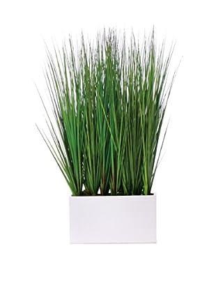 Lux-Art Silks Grass In White Rectangular Container, Green