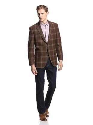 Coppley Men's Windowpane Sport Coat (Brown Windowpane)