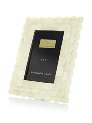 Purva White Scallop Stepped Bone Photo Frame