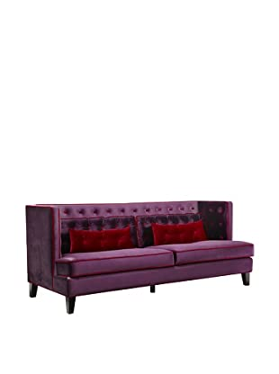 Armen Living Moulin Sofa in Velvet with Contrast Piping, Purple/Red