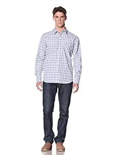 ONE90ONE Men's Stretched Out Button-Front Shirt (Blue/White)