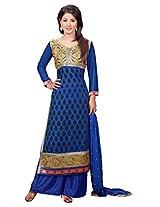 Atisundar Women Faux Georgette Dress Material (6667_30_48012 _Blue _12)