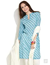Geometric Hand Block Printed Kurta-Medium Blue-Xl