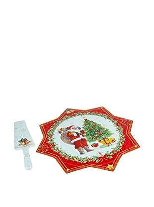 Plato Para Tarta 2 Piezas Navidad Rojo