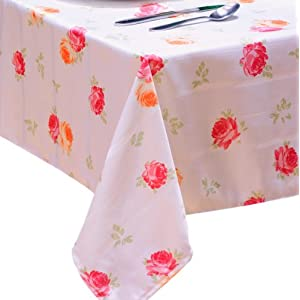 Laura Ashley Patchwork Microfiber Fabric Tablecloth 60-Inch by 84-Inch Oblong Spill Proof and Stain Resistant, Ellie