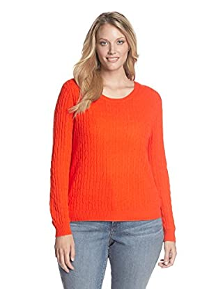 Kier & J Plus Women's Cashmere Crew Neck Cable Sweater (Soda)