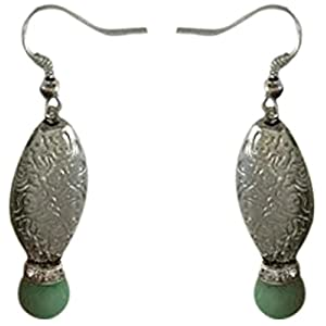 The Desi Soul German Silver with Grass Green Agates