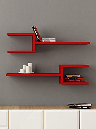 Decortie by Homemania Set 2 Estantes Fork (Rojo)