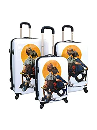 Saturday Evening Post Collection 3Pc Expandable Abs Luggage Set W/ 360˚ 4-Wheel System